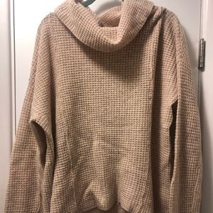 Free People Waffle Cowl Neck Sweater